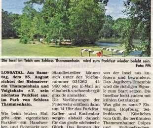 Thammenhainer sind reif für die Insel, Parkfest am 25. August 2018 am Schloss Thammenhain